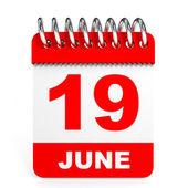 Calendar on white background. 19 June. — Stock Photo