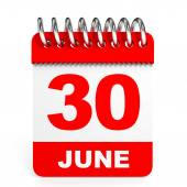 Calendar on white background. 30 June. — Stock Photo