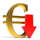 Euro falls. Arrow — Stock Photo