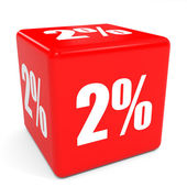 3D red sale cube. 2 percent discount. — Stock Photo