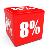 3D red sale cube. 8 percent discount. — Stock Photo