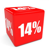 3D red sale cube. 14 percent discount. — Stock Photo