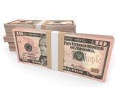Pile di soldi. Dieci dollari. — Foto Stock