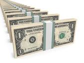 Stacks of money. One dollar. — Stock Photo