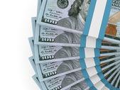 Stacks of money. New one hundred dollars. — 图库照片