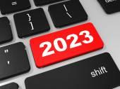 2023 new year key on keyboard. — Stock Photo