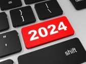 2024 new year key on keyboard. — ストック写真