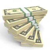 Stacks of money. Two dollars. — Stock Photo