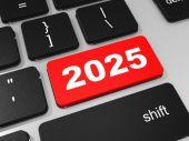 2025 new year key on keyboard. — Stock Photo