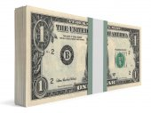 Pack of banknotes. One dollar. — Foto de Stock