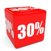 3D red sale cube. 30 percent discount. — Stock Photo