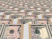 Stacks of money. Five dollars. — Fotografia Stock
