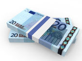 Stacks of money. Twenty euros. — Stockfoto