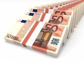 Stacks of money. Fifty euros. — Stock fotografie