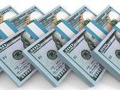 Stapel von Geld. Hundert-Dollar neu. — Stockfoto