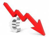 Graph down euro sign arrow. — Stock Photo