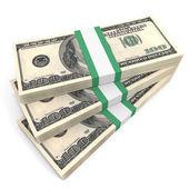 Stacks of money. One hundred dollars. — Stock Photo