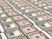 Stacks of money. Five dollars. — Stock fotografie