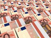 Stacks of money. Fifty euros. — Zdjęcie stockowe