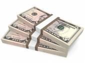 Stacks of money. Five dollars. — Stock Photo