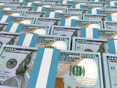 Stacks of money. New one hundred dollars. — Photo