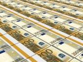 Stacks of money. Two hundred euros. — Stock Photo