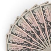 Money fan. Five dollars. — Stock Photo