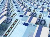 Stacks of money. Twenty euros. — Stock Photo