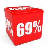 3D red sale cube. 69 percent discount. — Zdjęcie stockowe