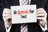 We Appreciate Your Trust on  business card — Stock Photo