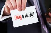 Business card with  Today is the Day! words — Stock Photo