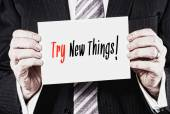 Business card with Try New Things words — Stock Photo