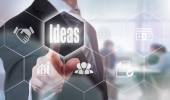 Pressing an Ideas button — Stock Photo