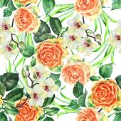Orange rose, orchid, alga, watercolor, pattern seamless — Stock Photo