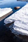 White snow and Ice in water — Stock Photo