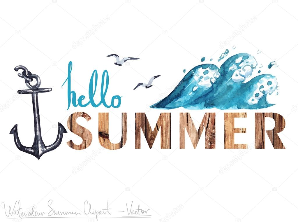 Hello Summer - Vector Watercolor Clipart — Stock Vector ...