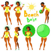 Beach Babe - clip-art — Stock Vector