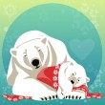 Greeting Card with Polar bear family. — Stock Vector #82687376