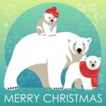 Greeting Card with Polar bear family. — Stock Vector #82687184