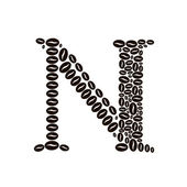 Letter N made of coffee beans vector set — Stok Vektör