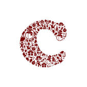 Christmas alphabet C on White Background — Stock Vector