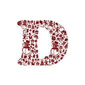 Christmas alphabet D on White Background — Stock Vector