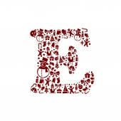 Christmas alphabet E on White Background — Stock Vector