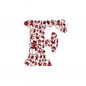 Christmas alphabet F on White Background — Stock Vector