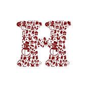 Christmas alphabet H on White Background — Stock Vector