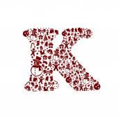 Christmas alphabet K on White Background — Stock Vector