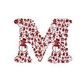 Christmas alphabet M on White Background — Stock Vector