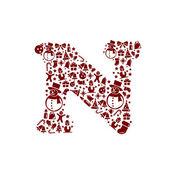 Christmas alphabet N on White Background — Stock Vector