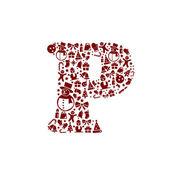 Christmas alphabet P on White Background — Stock Vector