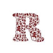 Christmas alphabet R on White Background — Stock Vector